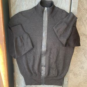 HUGO Hugo Boss brown wool zip up sweater | size L